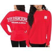 Women's Nebraska Cornhuskers Red Aztec Sweeper Long Sleeve Oversized Top