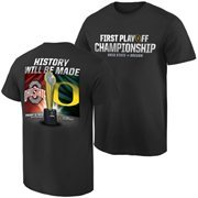 Mens Ohio State Buckeyes vs. Oregon Ducks Black 2015 College Football Playoff National Championship Dueling Trophy Quest T-Shirt
