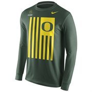 Mens Oregon Ducks Nike Green 2015 College Football Playoff Bound Flag Nation Long Sleeve T-Shirt