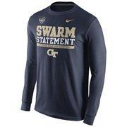Mens Georgia Tech Yellow Jackets Nike Navy Blue 2014 Orange Bowl Champions Locker Room Long Sleeve T-Shirt