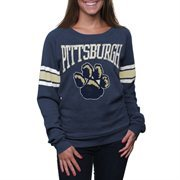 Pitt Panthers Womens Navy Blue Striped Slouchy Pullover Sweatshirt