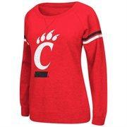 Cincinnati Bearcats Womens Vegas Boat Neck Pullover Fleece Sweatshirt - Black