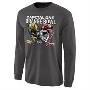 Mens Georgia Tech Yellow Jackets vs. Mississippi State Bulldogs Charcoal 2014 Orange Bowl Dueling Criss Cross Long Sleeve T-Shir
