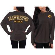 Women's Iowa Hawkeyes Black Aztec Sweeper Long Sleeve Oversized Top