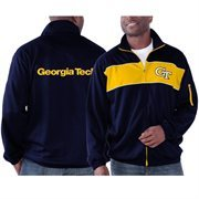 Men's  Navy Blue GA Tech Yellow Jackets Punch Out Full Zip Track Jacket