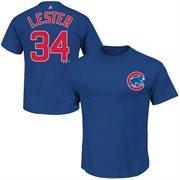Mens Chicago Cubs Jon Lester Majestic Royal Blue Official Name & Number T-Shirt