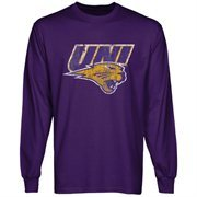 Northern Iowa Panthers Distressed Primary Long Sleeve T-Shirt - Purple