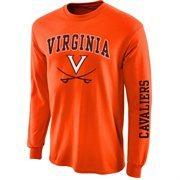Mens Virginia Cavaliers Orange Arch & Logo Long Sleeve T-Shirt