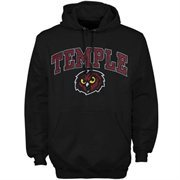 Mens Black Temple Owls Arch Over Logo Hoodie