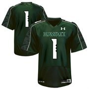 Mens Hawaii Warriors No.1 Under Armour Green Replica Football Jersey