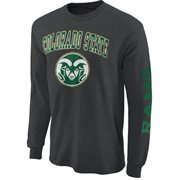 Mens Colorado State Rams Charcoal Arch & Logo Long Sleeve T-Shirt