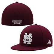 adidas Mississippi State Bulldogs On-Field Performance Fitted Hat - Maroon