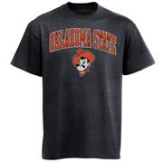 Mens Charcoal Oklahoma State Cowboys Arch Over Logo T-Shirt