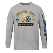 Youth GA Tech Yellow Jackets Gray 2014 Orange Bowl Bound Facemask Long Sleeve T-Shirt