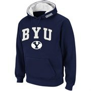 Mens BYU Cougars Navy Blue Classic Arch Logo Twill Hoodie