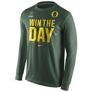 Mens Oregon Ducks Nike Green 2015 College Football Playoff Bound Team Long Sleeve T-Shirt