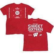 Men's Cardinal Wisconsin Badgers 2015 NCAA Men's Basketball Tournament Sweet 16 Bracket T-Shirt
