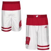 Men's adidas White Wisconsin Badgers 2015 March Madness Replica Basketball Shorts