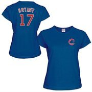 Women's Majestic Kris Bryant Royal Blue Chicago Cubs Name & Number T-Shirt