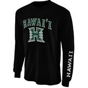 Mens Hawaii Warriors Black Arch & Logo Long Sleeve T-Shirt