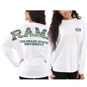 Women's Colorado State Rams White Aztec Sweeper Long Sleeve Top