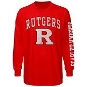 Mens Rutgers Scarlet Knights Red Arch & Logo Long Sleeve T-Shirt