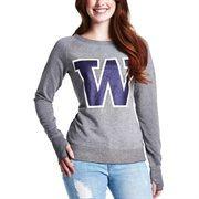 Washington Huskies Womens Glitter Boatneck Fleece Sweatshirt - Ash/Purple