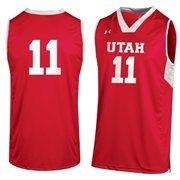 Mens Utah Utes No. 11 Under Armor Crimson Replica Basketball Jersey