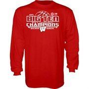 Men's Cardinal Wisconsin Badgers 2015 Big Ten Men's Basketball Conference Tournament Champions Locker Room Long Sleeve T-Shirt