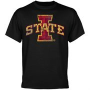 Iowa State Cyclones Black Distressed Logo T-shirt