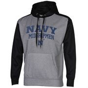 Mens Navy Midshipmen Gray/Black Fast Slant Raglan Performance Hoodie