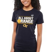 Women's GA Tech Yellow Jackets Navy Blue 2014 Orange Bowl Bound Slogan Too T-Shirt