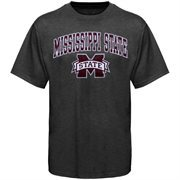 Mens Charcoal Mississippi State Bulldogs Arch Over Logo T-Shirt