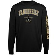 Men's New Agenda Black Vanderbilt Commodores Distressed Arch & Logo Long Sleeve T-Shirt