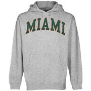 Miami Hurricanes Bold Arch Pullover Hoodie Sweatshirt - Ash