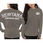 Women's Montana Grizzlies Gray Aztec Sweeper Long Sleeve Oversized Top