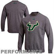 Under Armour South Florida Bulls Charged Performance Crew Sweatshirt - Charcoal