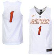 Men's Nike No. 1 White Florida Gators Hyper Elite Authentic Basketball Jersey