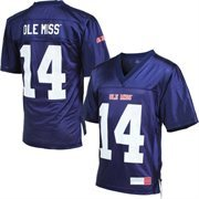 Mens Ole Miss Rebels Navy Blue No. 14 NCAA Fan Football Jersey
