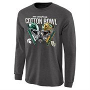 Mens Michigan State Spartans vs. Baylor Bears Charcoal 2015 Cotton Bowl Dueling Criss Cross Long Sleeve T-Shirt