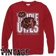 Mitchell & Ness Temple Owls Technical Foul Crew Sweatshirt - Cherry