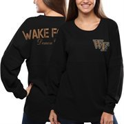 Women's Wake Forest Demon Deacons Black Pom Pom Jersey Oversized Long Sleeve T-Shirt