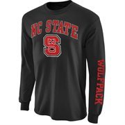 Mens NC State Wolfpack Charcoal Arch & Logo Long Sleeve T-Shirt