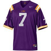 Mens LSU Tigers #7 Nike Purple Replica Football Jersey