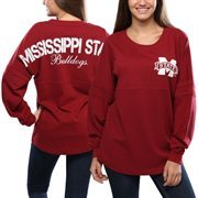 Women's Mississippi State Bulldogs Red Pom Pom Jersey Oversized Long Sleeve T-Shirt