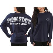 Women's Penn State Nittany Lions Navy Blue Aztec Sweeper Long Sleeve Oversized Top