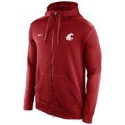 Mens Washington State Cougars Nike Crimson KO Chain Fleece Full Zip Performance Hoodie