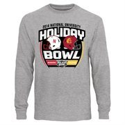 Mens Nebraska Cornhuskers vs. USC Trojans Ash 2014 National University Holiday Bowl Dueling Long Sleeve T-Shirt