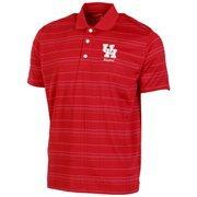 Mens Houston Cougars Scarlet Textured Stripe Alumni Polo