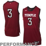 Under Armour Temple Owls #3 Replica Basketball Performance Jersey - Cherry
